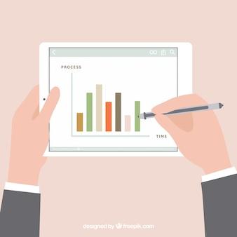 Statistiques Diagramme Sur Tablette Vecteur gratuit