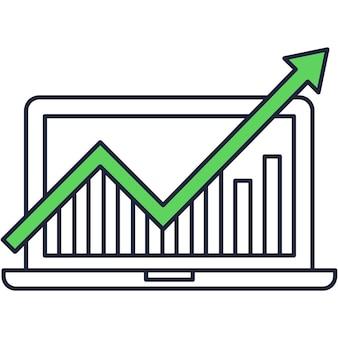 Statistiques de données rapport icône plate de recherche commerciale