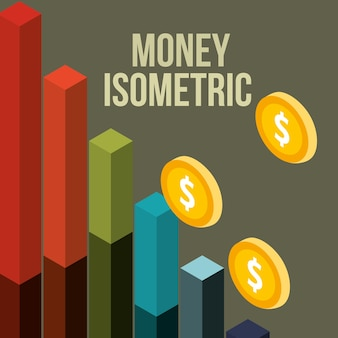 Statistiques financières d'entreprise bar pièces d'argent isométrique