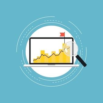 Statistiques de graphique d'affaires conception d'illustration vectorielle plate