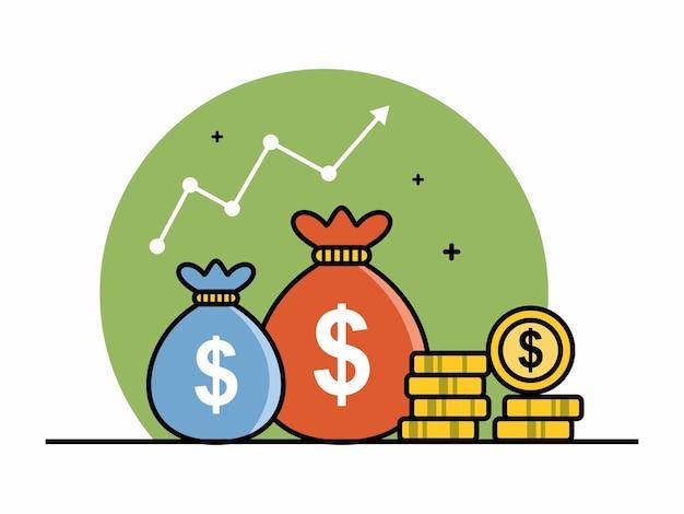 Statistiques d'investissement avec l'argent vector illustration croissance investissement finance