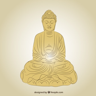 Statue de bouddha en couleur dorée