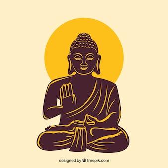 Statue de bouddha dans un style dessiné à la main