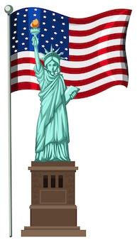 Statue de la liberté devant le drapeau américain