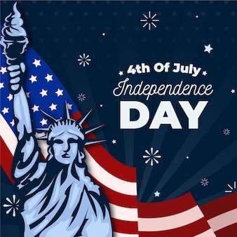 Statue design plat de la liberté et drapeau américain
