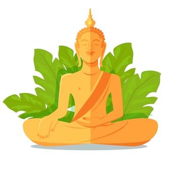 Statue dorée de bouddha devant de grandes feuilles vertes
