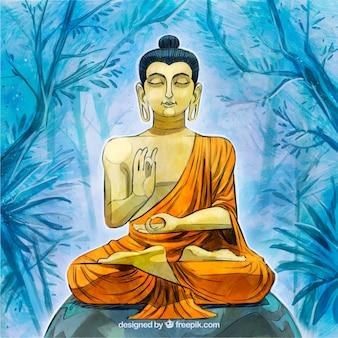 Statue dorée de budha avec style dessiné à la main