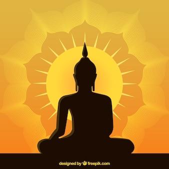 Statue de fond de bouddha dans un style plat