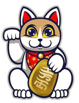 Statue japonaise de chat porte bonheur maneki neko