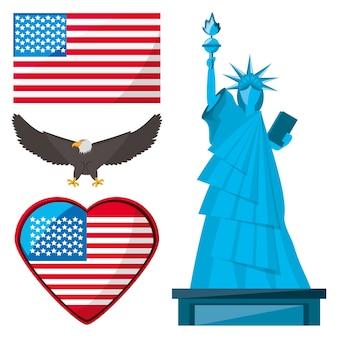 Statue de la liberté, aigle et drapeau américain