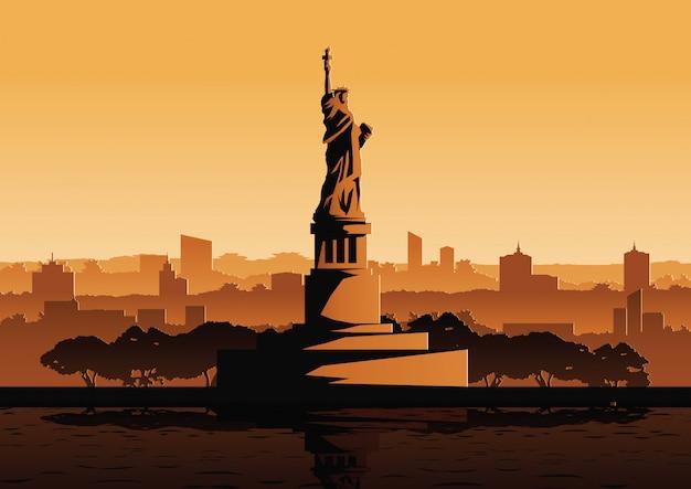 Statue de la liberté célèbre point de repère des etats-unis