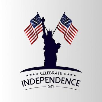 Statue de la liberté avec le drapeau des états-unis