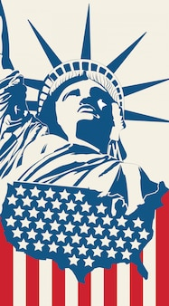 Statue de la liberté sur le fond