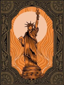 Statue de la liberté avec ornement vintage