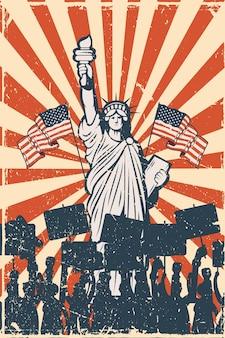 Statue de la liberté et personnes protestant contre l'affiche