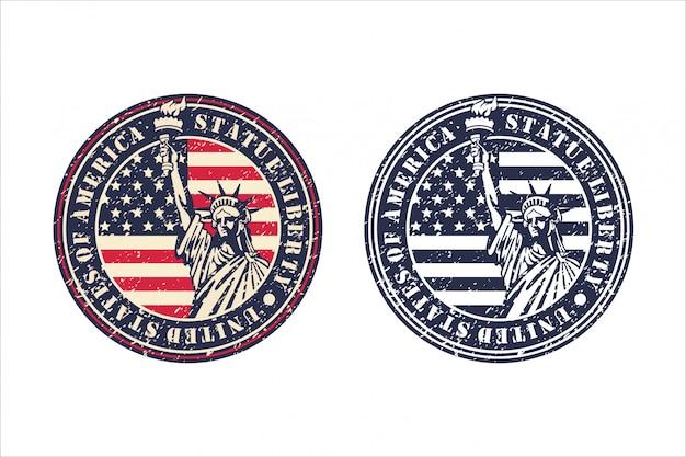 Statue liberty états-unis d'amérique design vintage