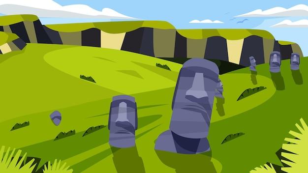 Statue moai - célèbre monument