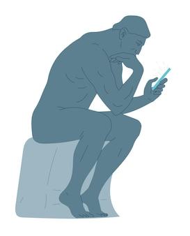 Statue de penseur assis avec un smartphone à la main.