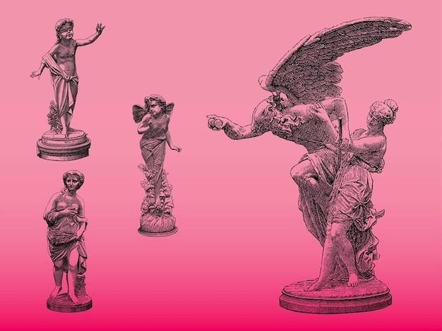 Statues de cru avec des ailes
