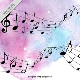 Stave avec les notes musicales aquarelle de fond