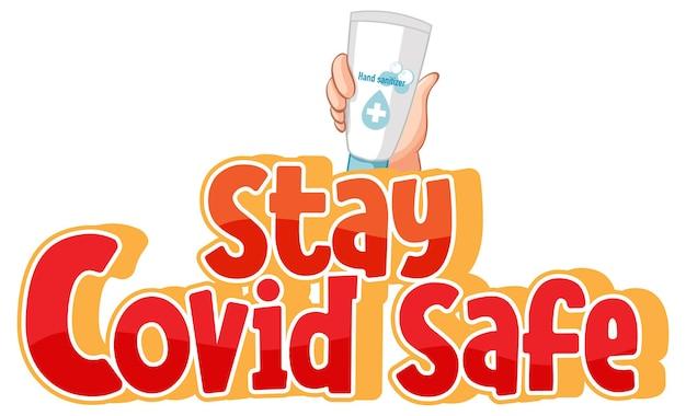 Stay covid safe police dans un style dessin animé main tenant un produit d'alcool à la main isolé sur blanc