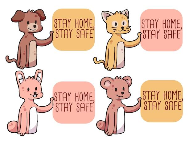 Stay home covid-19 typographie des coronavirus