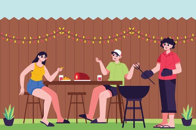 Staycation dans la cour avec barbecue