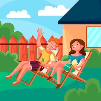 Staycation dans l'illustration de l'arrière-cour