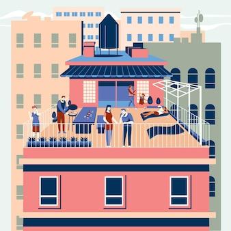 Staycation sur une terrasse sur le toit cocnept