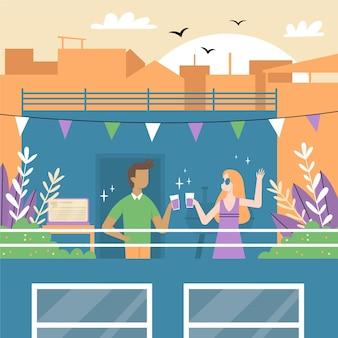 Staycation sur une terrasse sur le toit