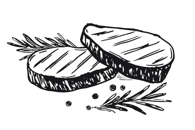 Steak barbecue viande illustrations dessinées à la main