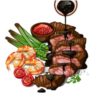 Steak de boeuf grillé crevettes et asperges sur fond blanc vue de dessus