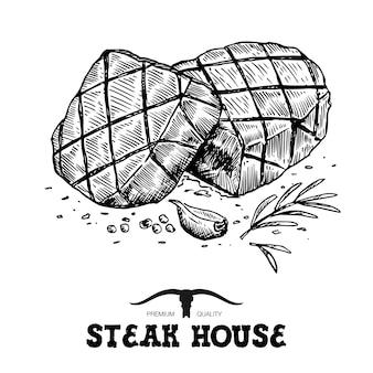 Steak de boeuf grillé dessiné à la main sur fond blanc,