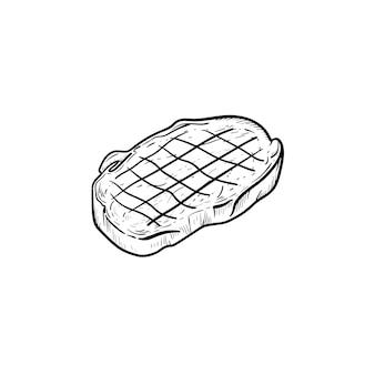 Steak de boeuf avec icône de doodle contour dessiné main fumée. illustration de croquis de vecteur de steak de boeuf pour impression, web, mobile et infographie isolé sur fond blanc.