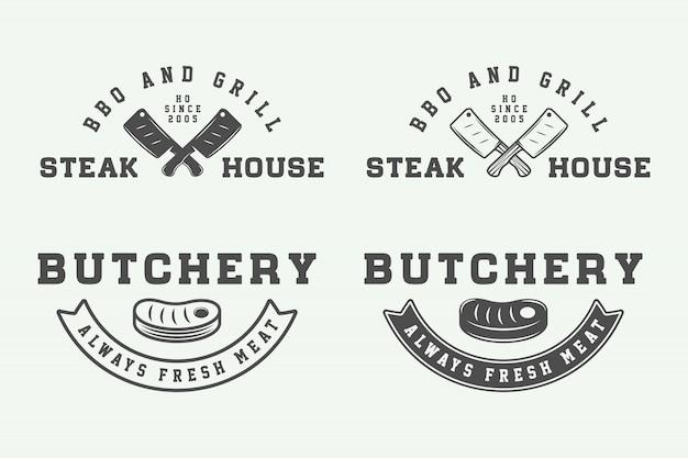 Steak boucherie logos, emblèmes
