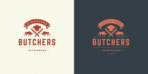 Steak house logo vector illustration taureaux avec silhouette de couteaux bon pour insigne de ferme ou de restaurant. conception d'emblème de typographie vintage.
