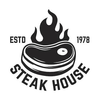Steak house. viande coupée et couperets croisés.