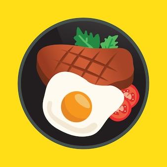 Steak et oeufs frits dans une poêle
