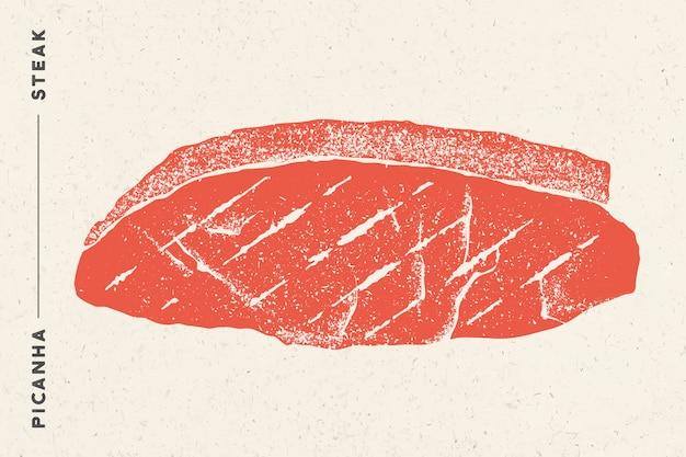Steak, picanha. affiche avec silhouette de steak, texte picanha, steak. modèle de typographie de logo pour magasin de viande, marché, restaurant. autocollant et menu. illustration