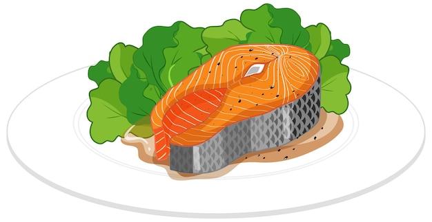 Steak de saumon sur une assiette isolé sur fond blanc