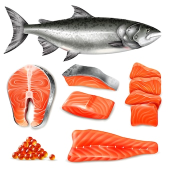 Steaks crus de poisson saumon et jeu d'icônes de caviar isolé sur blanc