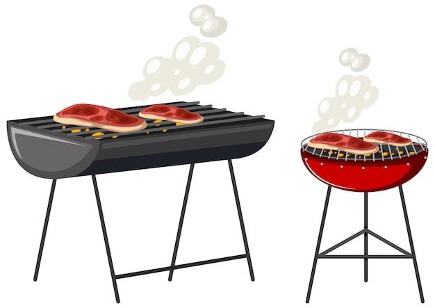 Steaks sur le personnage de dessin animé de gril isolé sur fond blanc