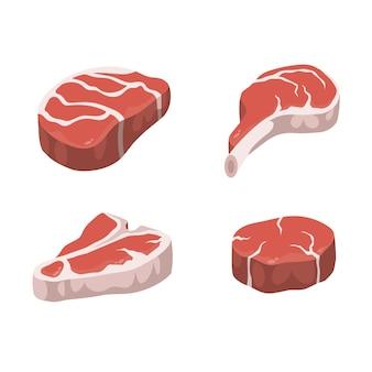 Steaks réalistes. isolé sur fond blanc.