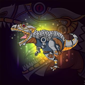 Le steampunk de l'ancien animal parasaurolophus esport mascotte design d'illustration