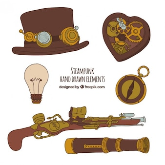 Steampunk main elements drawn
