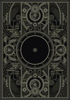 Steampunk poster template vecteur eps