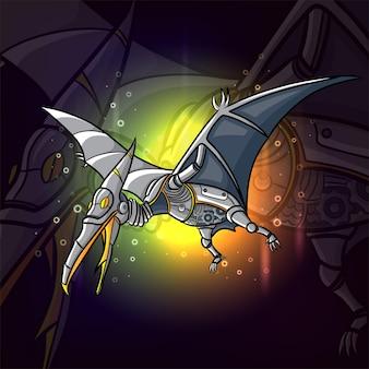 Le steampunk de pteranodon esport logo design d'illustration