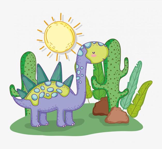 Stegosaurus animal mignon avec cactus et soleil