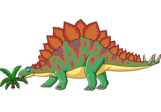 Stegosaurus de dessin animé isolé sur fond blanc