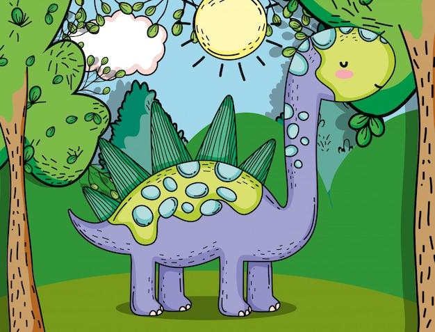 Stegosaurus dino préhistorique avec plantes